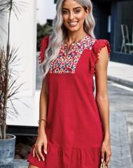 Punane värvilise tikandkaunistusega kleidike (S)