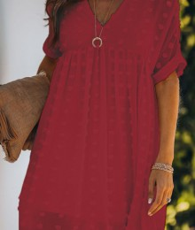 Punane täpilise mustriga õhuline voodriga kleit (S/M)