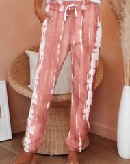 Heleroosa-valge säbru mustriga püksid (S)