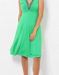 Särav roheline kaunistusega kleit (UNI)