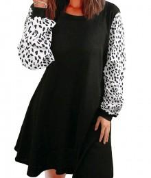 Must kleit valgete loomamustriliste varrukatega (M)
