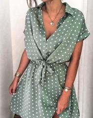 Roheline täpikestega kleit (M)