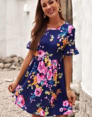 Lihtsa tegumoega sinine fuksiaroosade lilledega kleit (M)