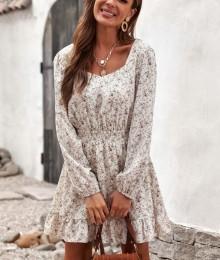 Kreemikas-valgel põhjal lilleline kleit (L)