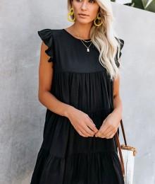 Must vabalõikeline voodriga kleit (M)