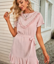 Voodriga roosa suvine vabaaja kleidike (L)