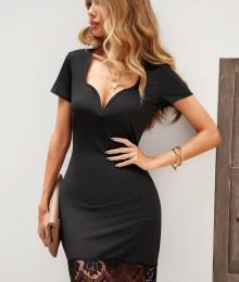 Must pitsist äärega kleit (L)