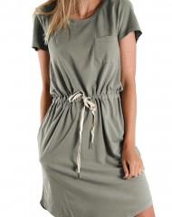 Reguleeritava vööosaga khakiroheline kleit (M)