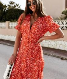 V-kaelusega punane valgete lillekestega kleidike (S)