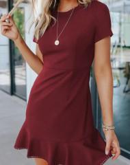 Punane rüüsiga kleit (M)