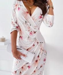 Värviliste lillekestega valge hõlmikstiilis kleit (XL/XXL)
