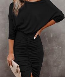 Kroogitud seelikuosaga must bodycon kleit (S, M)