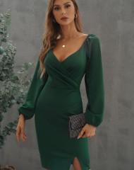 Mürkroheline kleit väikese lõhikuga (M)