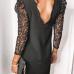 Pitsist pikkade varrukatega must kleit (S)