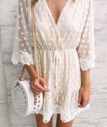 Hõlmikstiilis valge kleidike (S)