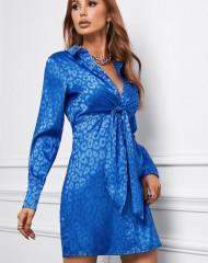 Sinine leopardimustrilise prindiga kleit (M)