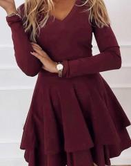Tumepunane kahekihilise seelikuosaga kleit (S/M, M/L)