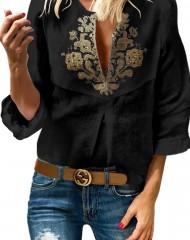 Must tikandkaunistusega pluus  (S)