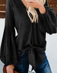 Puuvillane must puhvvarrukatega pluus (S)