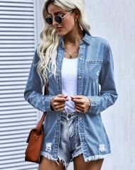 Sinine trukkidega teksapluus/jakk (M)