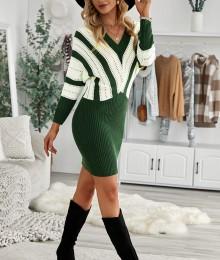 Roheline kampsun-kleit (M)