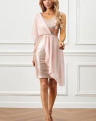 Heleroosa pidulik litritega kaunistatud kleit (L)