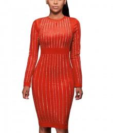 Punane kivikestega pehme seemisnahkne kleit (S)